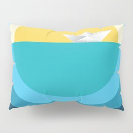 Paper boat in the sea Pillow Sham