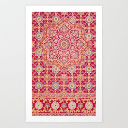 Red Pink Embroidered Mandala Art Print
