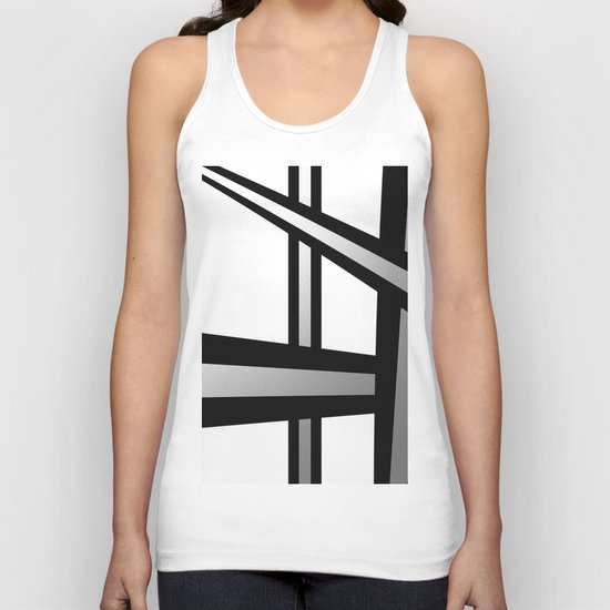 Bold Metallic Beams - Minimalistic, abstract black and white artwork Unisex Tank Top