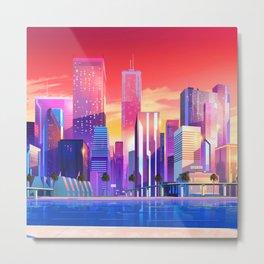 Synthwave Space #19: Neon City (pixelart) Metal Print