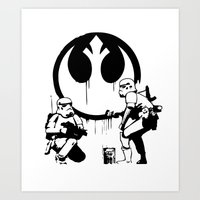 banksy Art Prints featuring Banksy Troopers by Don Calamari