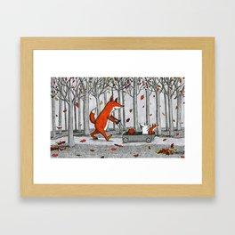 Fox Family Enjoying the Fall Leaves Framed Art Print