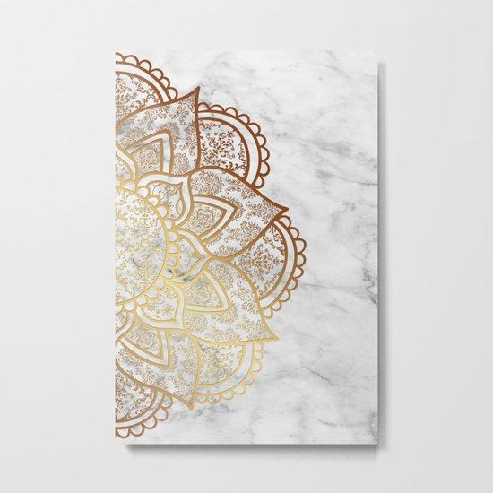 Mandala - Gold & Marble Metal Print