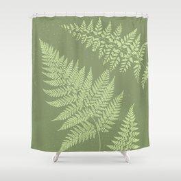 Dark olive fern Shower Curtain