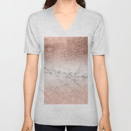 Modern faux rose gold glitter and foil ombre gradient on white marble color block Unisex V-Neck