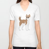 husky V-neck T-shirts featuring Red Husky by Sarah