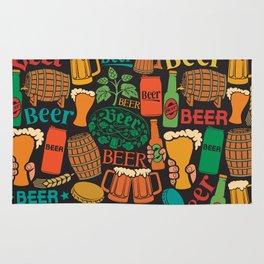 beer icons seamless pattern (hops leaf, wooden barrel, glass, can, mug, bottles) Rug
