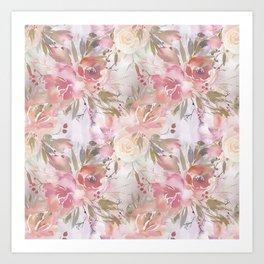 Modern blush pink ivory botanical watercolor floral Art Print