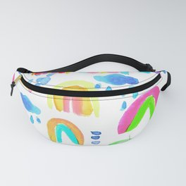 Stormy Rainbows in White Fanny Pack