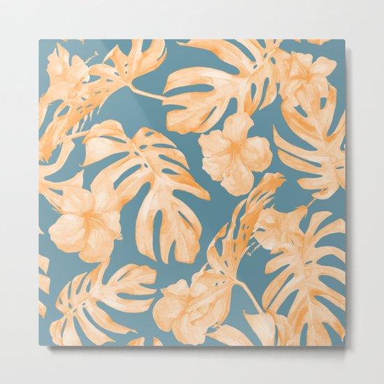 Island Hibiscus Palm Coral Teal Blue Metal Print