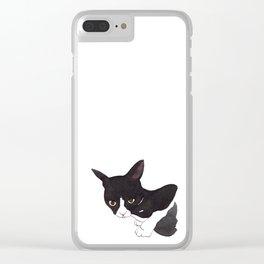 Tuxedo cat Clear iPhone Case