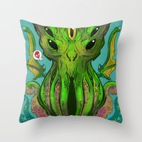 cthulhu Throw Pillows featuring Cthulhu by Tyler Lederer
