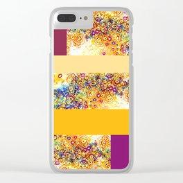 Swirl Amoeba  Patchwork Colorblock Canvas Clear iPhone Case