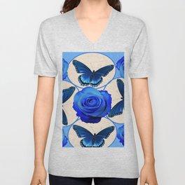 BLUE ROSES & BLUE BUTTERFLIES MODERN ART Unisex V-Neck