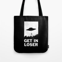 rose Tote Bags featuring Get In Loser by moop