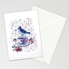Winter Tea (Ble Jay) Stationery Cards