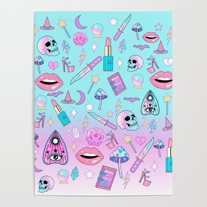 girly pastel goth witch pattern poster by lunaelizabeth society6