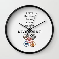 divergent Wall Clocks featuring DIVERGENT - ALL FACTIONS by MarcoMellark