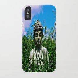 Buddha Looks Through Grass iPhone Case