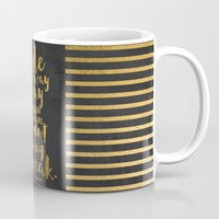 gold foil Mugs featuring STYLE QUOTE Gold Foil by Casey Snyder Design