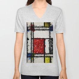 Mondrian with a twist Unisex V-Neck