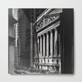 Wall Street, Stock Exchange, New York, New York black and white photograph Metal Print