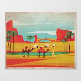 Desert Horizon - Kitschy Mid Century Style Watercolor Print with Camels  Canvas Print