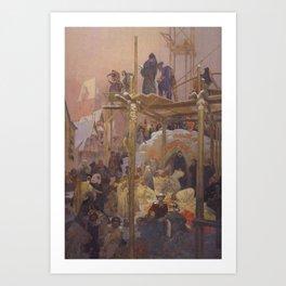 Alfons Mucha - Jan Milíč of Kroměříž: A Brothel Converted to a Convent (1916) Art Print