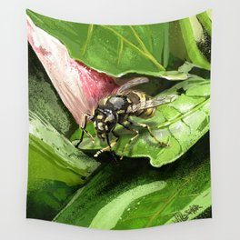 Wasp on flower16 Wall Tapestry