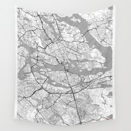 Stockholm Map Line Wall Tapestry