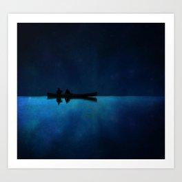 Canoe at Night Art Print