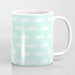 White cars on mint background nursery pattern Coffee Mug