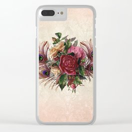 Peacock Feather Bouquet Clear iPhone Case