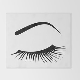 Closed Eyelashes Left Eye Throw Blanket