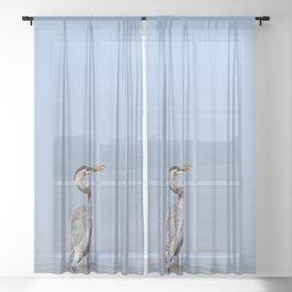 Great Blue Heron Fishing - I Sheer Curtain