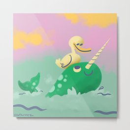 Narwhal and Duck Metal Print