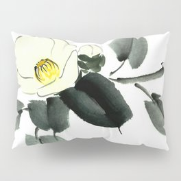 White camellia sumi ink and japanese watercolor painting Pillow Sham