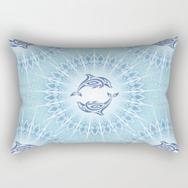 Dolphins Mandala Blue Rectangular Pillow