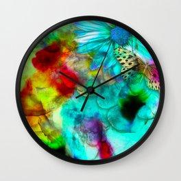 alcohol ink daisy-butterfly Wall Clock