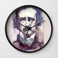 edgar allan poe Wall Clocks featuring Edgar Allan Poe by Germania Marquez