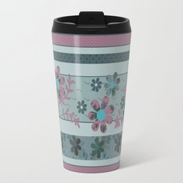 Retro . Turquoise and purple floral pattern . Travel Mug