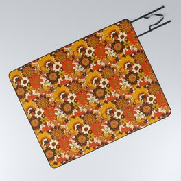Retro 70s Flower Power, Floral, Orange Brown Yellow Psychedelic Pattern Picnic Blanket