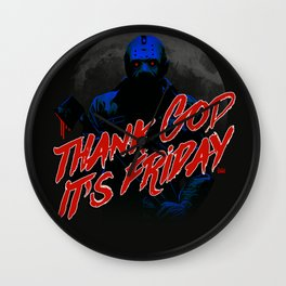 Thank God it's Friday in blue Wall Clock