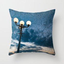 A murmuration of starlings (II) Throw Pillow