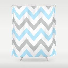 BLUE & GRAY CHEVRON Shower Curtain