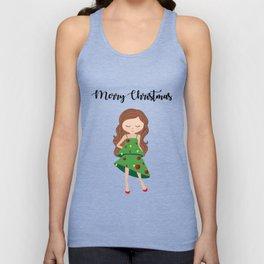I am a Christmas Girl - Christmas tree inspired Unisex Tank Top