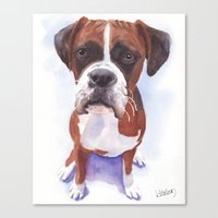 boxer Canvas Prints featuring Boxer by ArtEndeavors