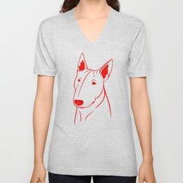 Bull Terrier (Light Blue and Red) Unisex V-Neck
