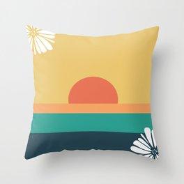 Modern Ocean Sunrise Throw Pillow