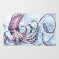 squid Area & Throw Rugs featuring Squid by Danielle Borisoff